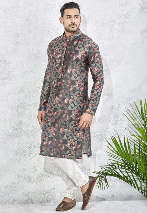 Digital Printed Art Silk Kurta Set in Black