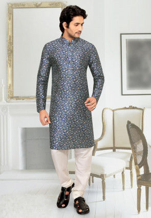 Digital Printed Art Silk Kurta Set in Blue