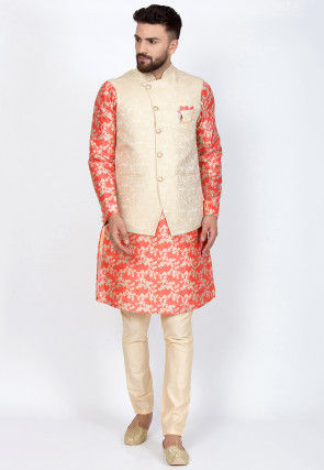 Digital Printed Art Silk Kurta Set in Coral Red and Off White