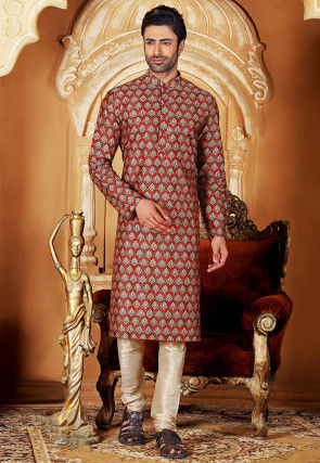 Digital Printed Art Silk Kurta Set in Red