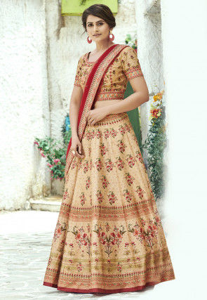 Digital Printed Art Silk Lehenga in Beige