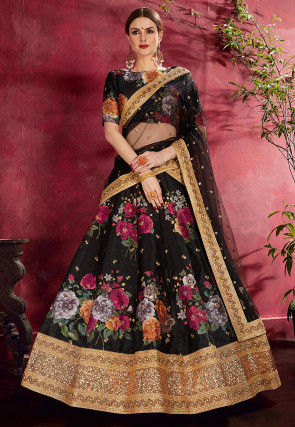 Digital Printed Art Silk Lehenga in Black