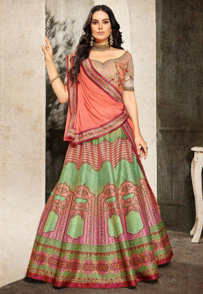 Digital Printed Art Silk Lehenga in Green and Pink