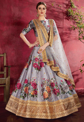 Digital Printed Art Silk Lehenga in Grey