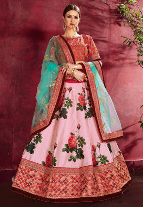 Digital Printed Art Silk Lehenga in Light Pink