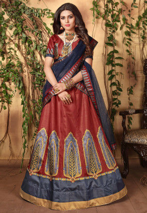 Digital Printed Art Silk Lehenga in Maroon