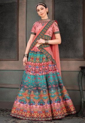 Digital Printed Art Silk Lehenga in Multicolor