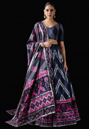 Digital Printed Art Silk Lehenga in Navy Blue