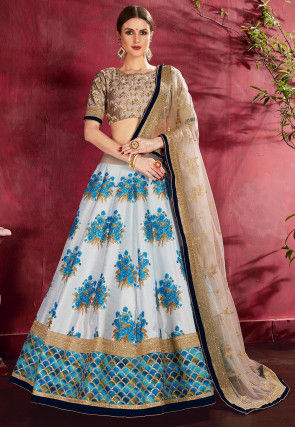 Digital Printed Art Silk Lehenga in Off White and Blue