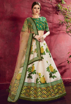 Digital Printed Art Silk Lehenga in Off White and Olive Green