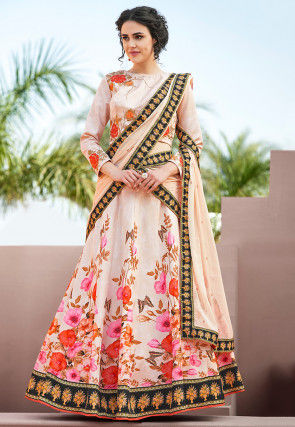 Digital Printed Art Silk Lehenga in Off White
