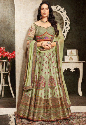 Digital Printed Art Silk Lehenga in Pastel Green