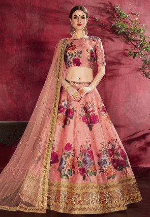 Digital Printed Art Silk Lehenga in Peach