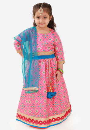 Digital Printed Art Silk Lehenga in Pink