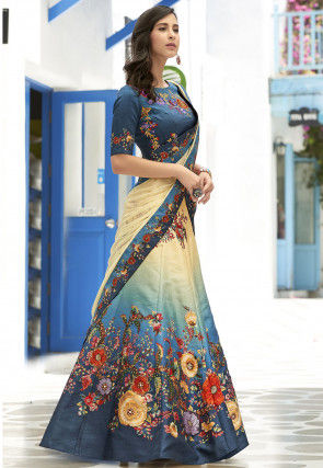 Digital Printed Art Silk Lehenga in Shaded Beige and Teal Blue