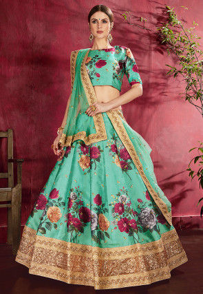 Digital Printed Art Silk Lehenga in Teal Green