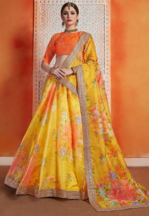 Digital Printed Organza Lehenga in Yellow and Orange
