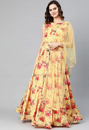 Digital Printed Art Silk Lehenga in Yellow