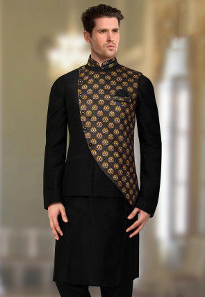 Digital Printed Art Silk Nehru Jacket in Black and Purple