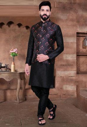 Digital Printed Art Silk Nehru Jacket in Black