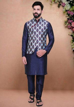 Digital Printed Art Silk Nehru Jacket in Blue