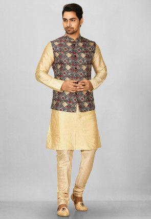 Digital Printed Art Silk Nehru Jacket in Multicolor