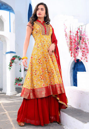 Digital Printed Art Silk Pakistani Suit in Mustard