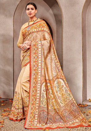 Digital Printed Art Silk Saree in Beige