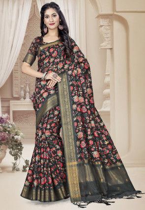 Digital Printed Art Silk Saree in Black