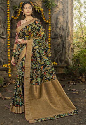 Digital Printed Art Silk Saree in Black