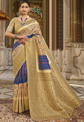 Digital Printed Art Silk Saree in Blue and Beige