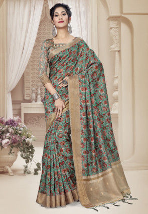 Digital Printed Art Silk Saree in Dusty Green