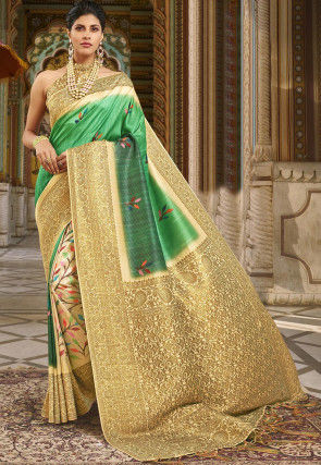 Digital Printed Art Silk Saree in Green and Beige