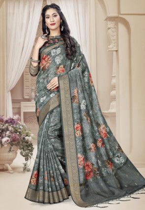 Digital Printed Art Silk Saree in Grey