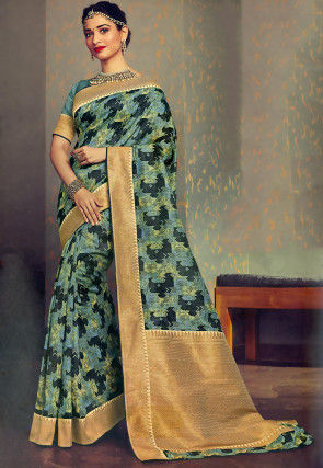 Digital Printed Art Silk Saree in Light Blue and Black