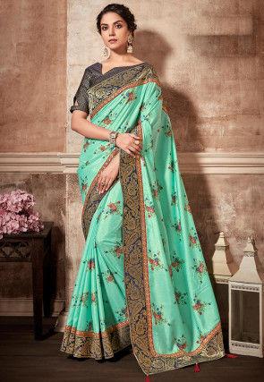 Digital Printed Art Silk Saree in Light Blue