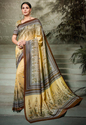 Digital Printed Art Silk Saree in Light Yellow and Grey