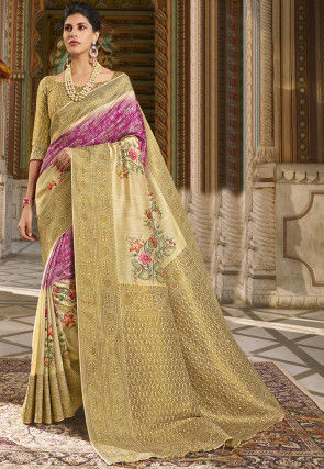 Digital Printed Art Silk Saree in Magenta and Beige