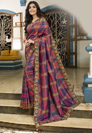 Digital Printed Art Silk Saree in Multicolor