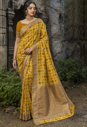 Digital Printed Art Silk Saree in Mustard