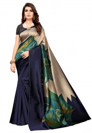 Digital Printed Art Silk Saree in Navy Blue and Beige
