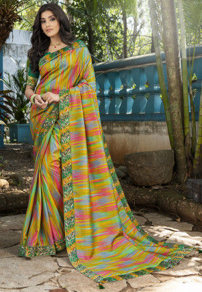 Digital Printed Art Silk Saree in Olive Green and Multicolor