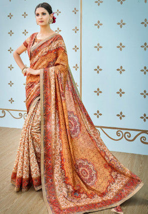 Digital Printed Art Silk Saree in Orange and Off White