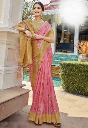 Digital Printed Art Silk Saree in Pink