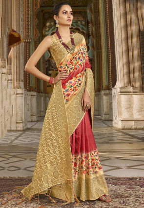 Digital Printed Art Silk Saree in Red and Beige