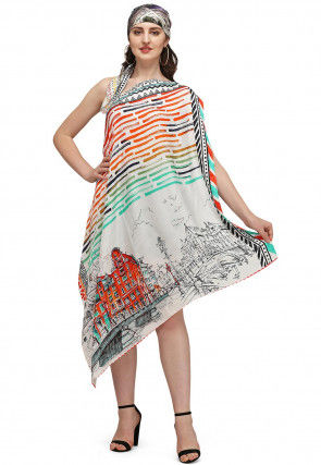 Digital Printed Art Silk Scarf in Off White and Multicolor