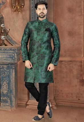 Digital Printed Art Silk Sherwani in Dark Green