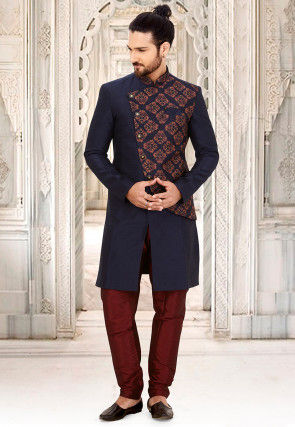 Digital Printed Art Silk Sherwani in Navy Blue