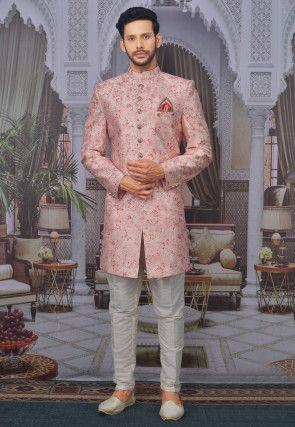 Digital Printed Art Silk Sherwani in Pink