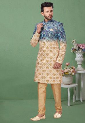 Digital Printed Art Silk Sherwani in Shaded Blue and Beige